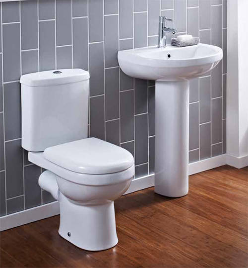 Additional image for Ivo Suite With Toilet, Seat, 500mm Basin & Pedestal.