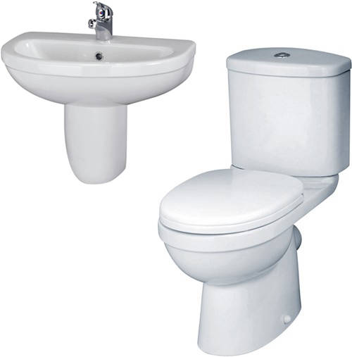 Additional image for Ivo Suite With Toilet, 550mm Basin & Semi Pedestal (1 Tap Hole).