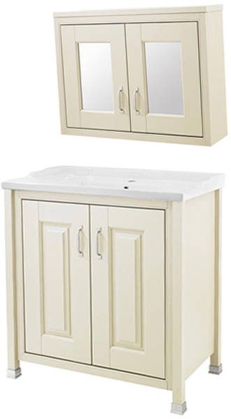 Additional image for 800mm Vanity & 800mm Mirror Cabinet Pack (Ivory).