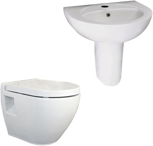 Additional image for Wall Mounted Toilet With Seat, Basin & Semi Pedestal.