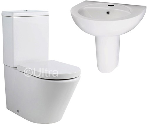 Additional image for Close Coupled Toilet With Seat, Basin & Semi Pedestal.