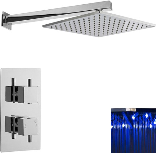 Additional image for Twin Thermostatic Shower Valve & Large LED Square Head.