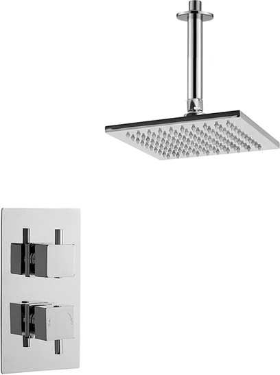 Additional image for Twin Thermostatic Shower Valve With Head & Arm (Chrome).