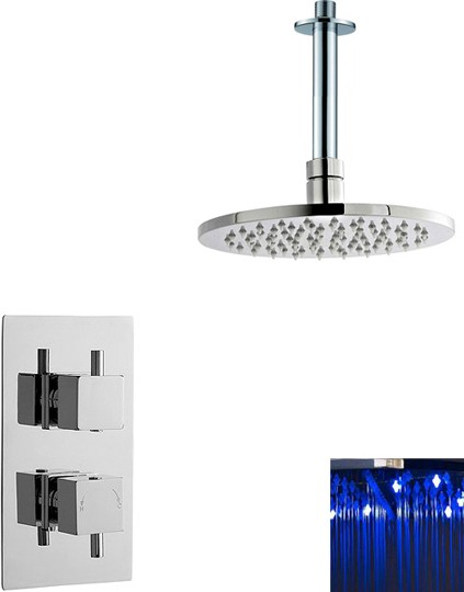 Additional image for Twin Thermostatic Shower Valve With LED Round Head.