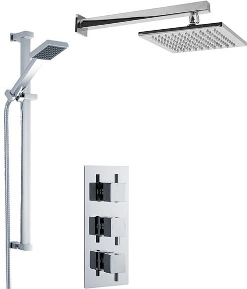 Additional image for Triple Thermostatic Shower Valve With Head & Slide Rail Kit.