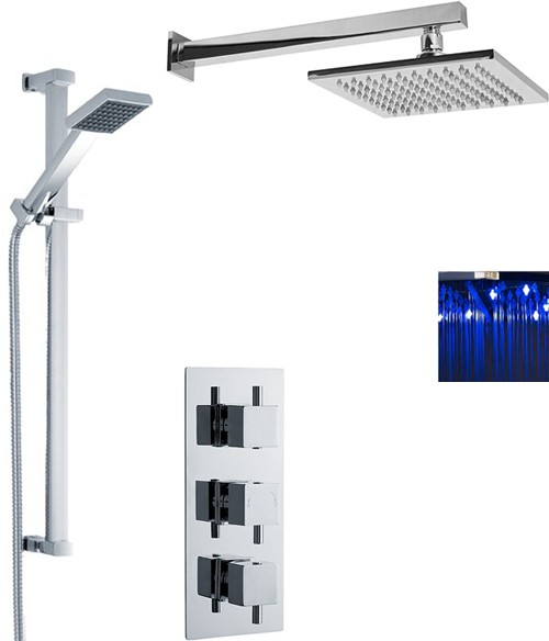 Additional image for Triple Thermostatic Shower Valve, LED Head & Slide Rail Kit.