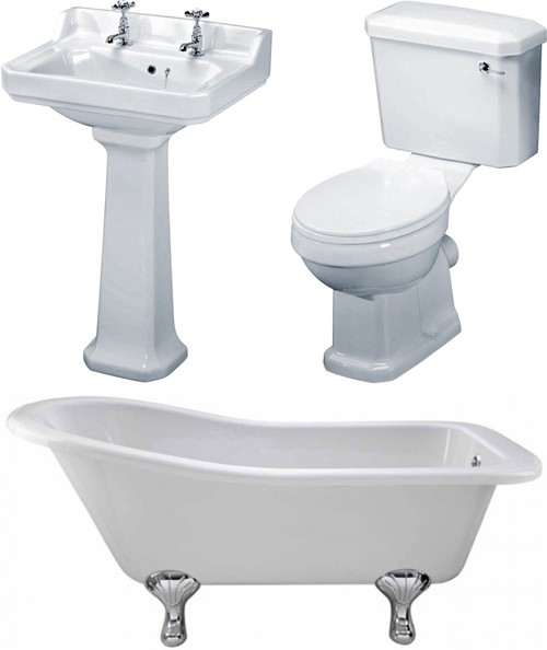Additional image for Kensington 1700mm Slipper Bath With Toilet & Basin.