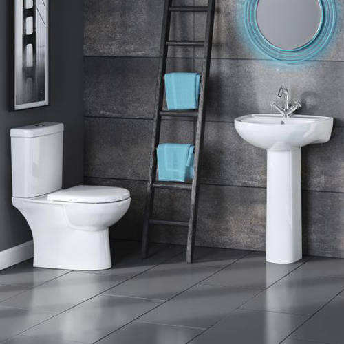 Additional image for Bathroom Suite With Toilet, 550mm Basin & Pedestal.