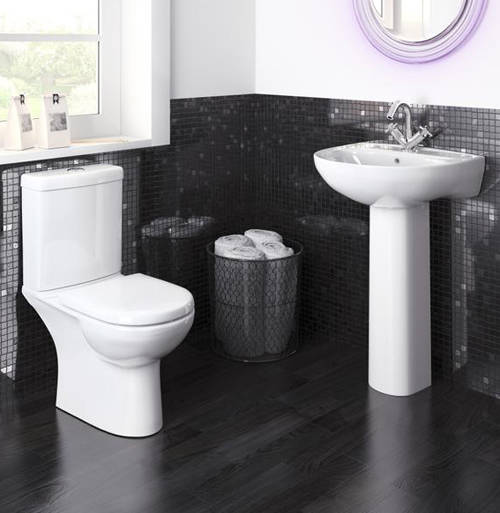 Additional image for Compact Suite With Toilet, 550mm Basin & Full Pedestal (1TH).