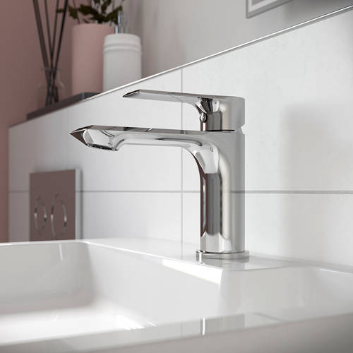 Additional image for Basin Mixer Tap With Push Button Waste (Chrome).