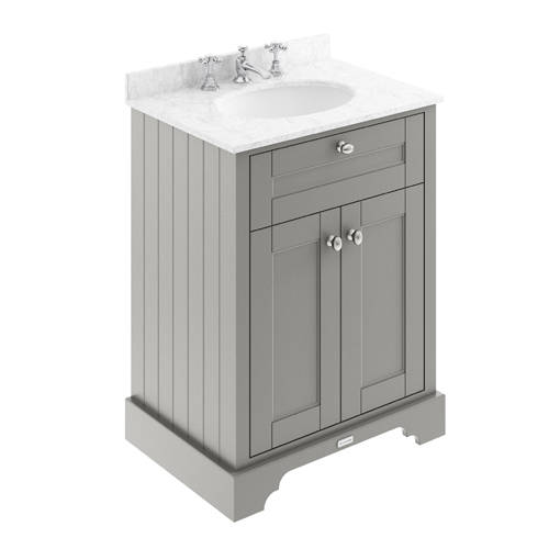 Additional image for Vanity Unit, Basin & Grey Marble 600mm (Grey, 3TH).