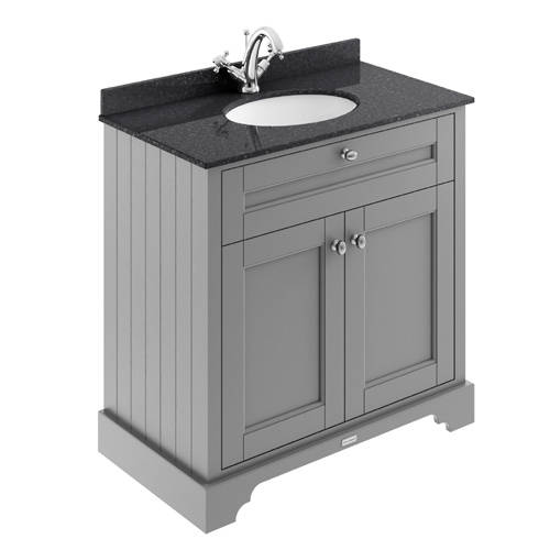 Additional image for Vanity Unit, Basin & Black Marble 800mm (Grey, 1TH).