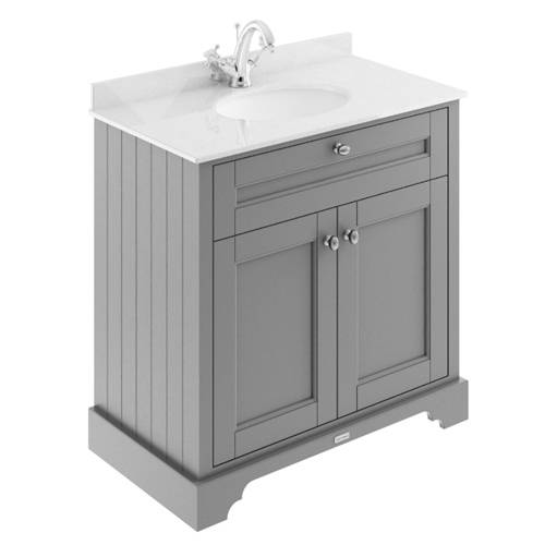 Additional image for Vanity Unit, Basin & White Marble 800mm (Grey, 1TH).