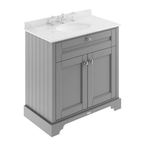 Additional image for Vanity Unit, Basin & White Marble 800mm (Grey, 3TH).