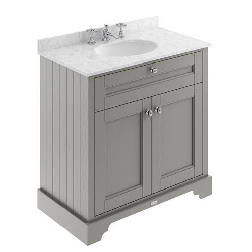 Additional image for Vanity Unit, Basin & Grey Marble 800mm (Grey, 3TH).