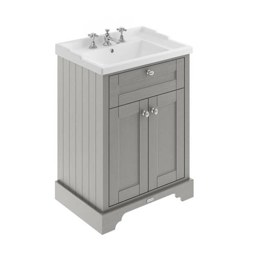Additional image for Vanity Unit With Basins 600mm (Storm Grey, 3TH).