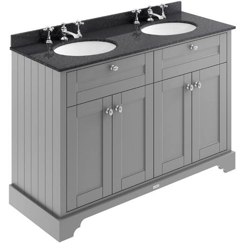 Additional image for Vanity Unit With 2 Basins & Black Marble (Grey, 3TH).