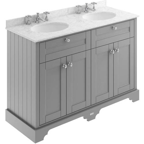 Additional image for Vanity Unit With 2 Basins & Grey Marble (Grey, 3TH).