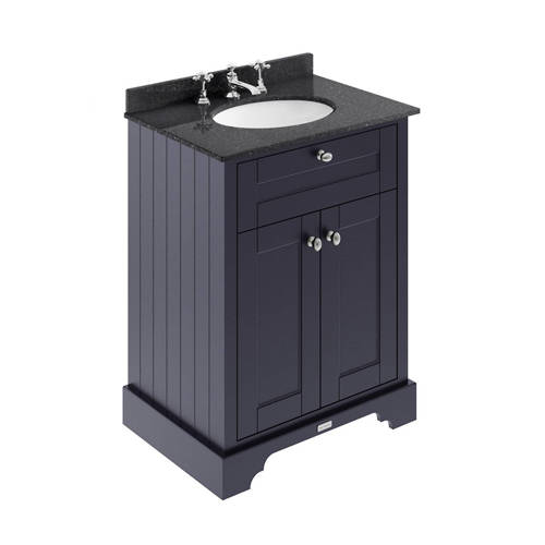 Additional image for Vanity Unit, Basin & Black Marble 600mm (Blue, 3TH).