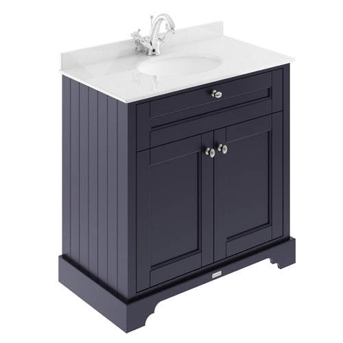Additional image for Vanity Unit, Basin & White Marble 800mm (Blue, 1TH).