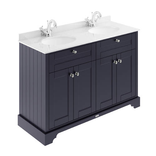Additional image for Vanity Unit With 2 Basins & White Marble (Blue, 1TH).