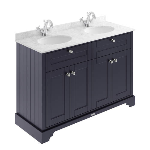 Additional image for Vanity Unit With 2 Basins & Grey Marble (Blue, 1TH).