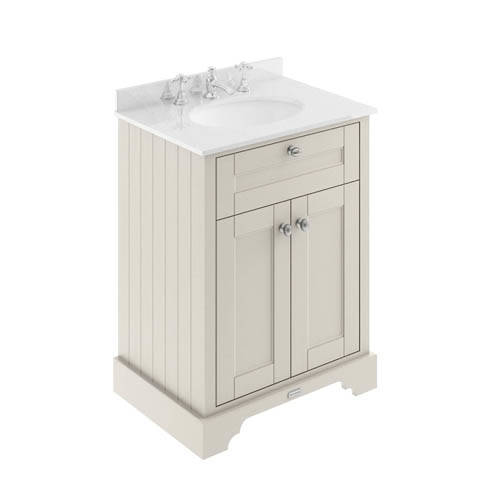 Additional image for Vanity Unit, Basin & White Marble 600mm (Sand, 3TH).
