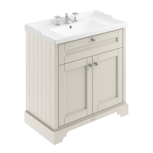 Additional image for Vanity Unit With Basins 800mm (Sand, 3TH).