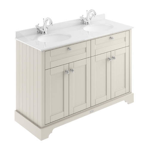 Additional image for Vanity Unit With 2 Basins & White Marble (Sand, 1TH).