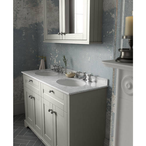 Additional image for Vanity Unit With 2 Basins & Grey Marble (Sand, 3TH).
