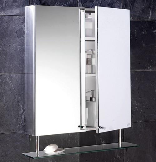Additional image for Dakota stainless steel mirror bathroom cabinet. 600mm.