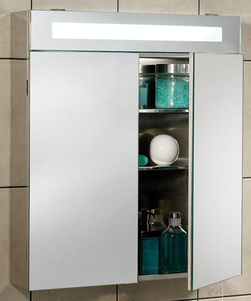 Tucson Mirror Bathroom Cabinet & Light. 620x700mm. Ultra
