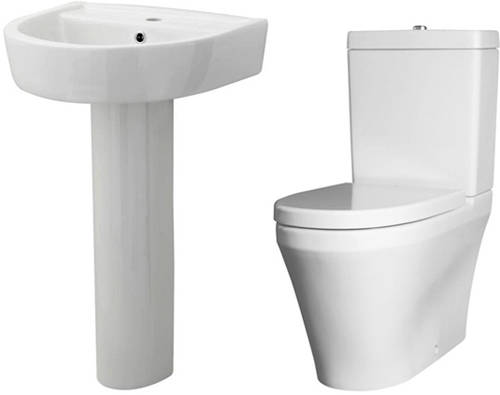 Additional image for Flush To Wall Toilet With 520mm Basin & Full Pedestal.