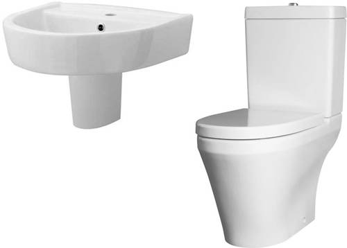 Additional image for Semi Flush Toilet With 520mm Basin & Semi Pedestal.