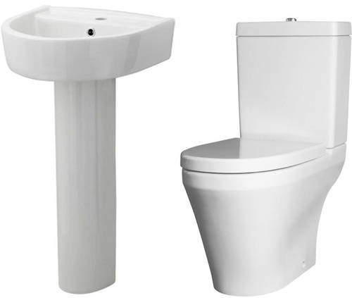 Additional image for Semi Flush Toilet With 420mm Basin & Full Pedestal.