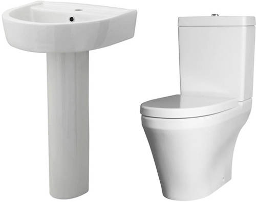 Additional image for Semi Flush Toilet With 520mm Basin & Full Pedestal.