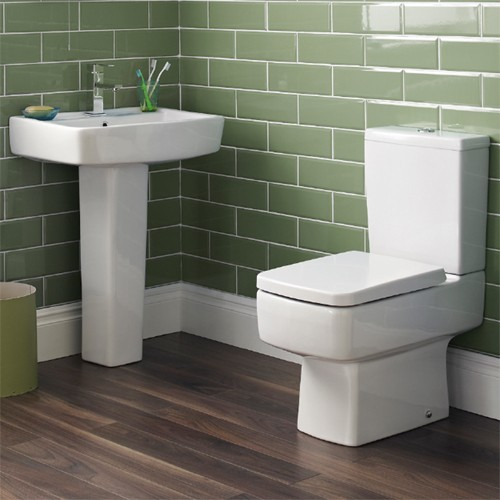 Additional image for Short Projection Toilet, 600mm Basin, Full Pedestal & Seat.