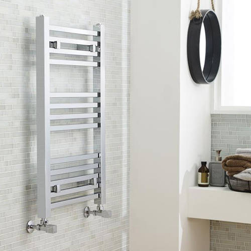 Additional image for Square Ladder Towel Radiator (Chrome). 800x500mm.
