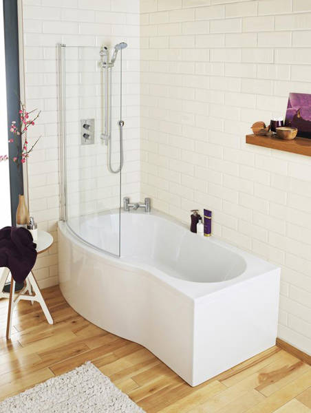 Additional image for Curved Side Shower Bath Panel (White, 1700mm).