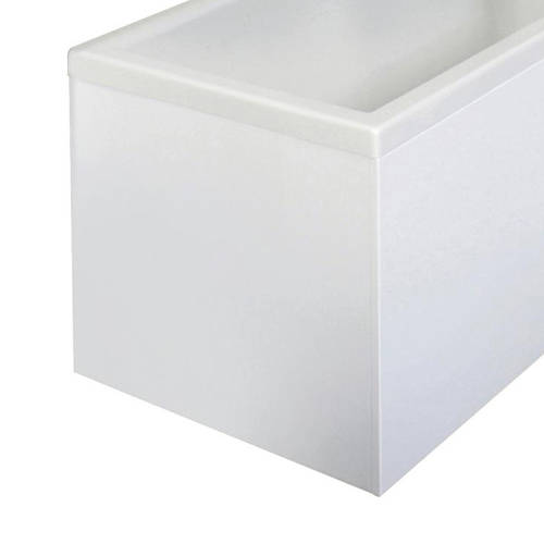 Additional image for Square Shower Bath End Panel (White, 680mm).