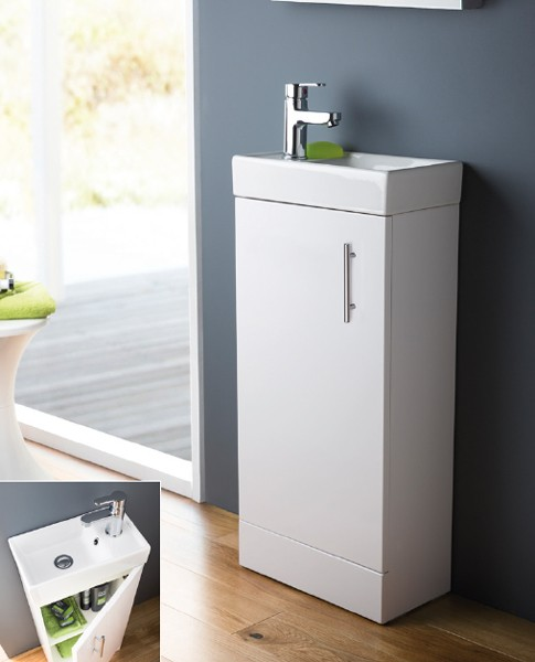 Additional image for Compact Vanity Unit & Basin (White). 400x861mm.