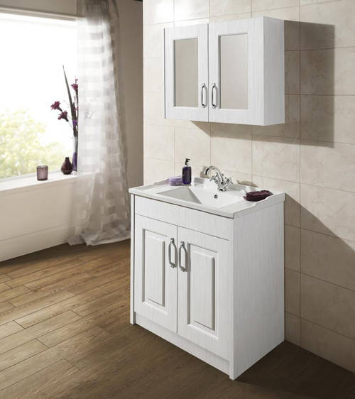 Additional image for Vanity Unit & Ceramic Basin 600mm (White).
