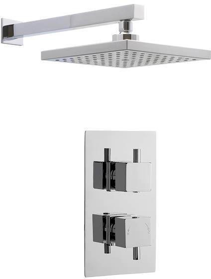 Additional image for Twin Thermostatic Shower Valve & Square Head (Chrome).