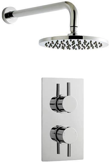 Additional image for Twin Thermostatic Shower Valve & Round Head (Chrome).