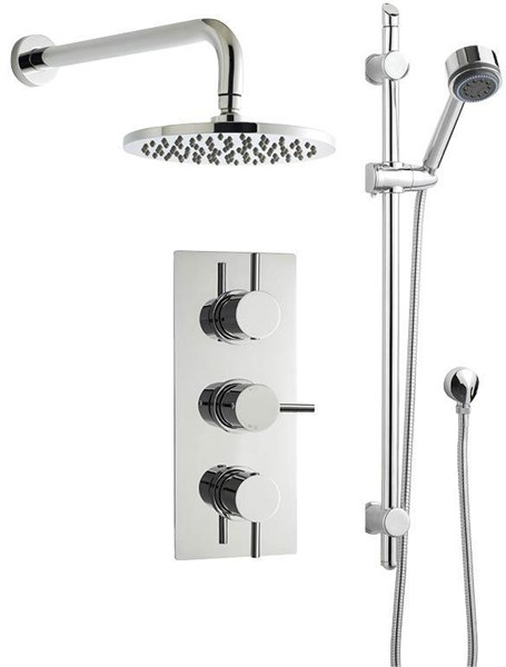 Additional image for Triple Thermostatic Shower Valve, Round Head & Slide Rail Kit.