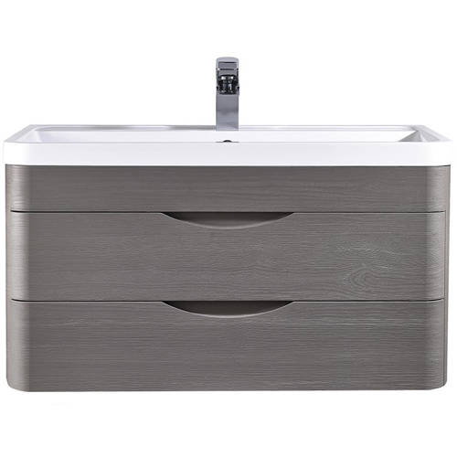 Additional image for Wall Hung Vanity Unit & Basin 800mm (Grey Woodgrain).