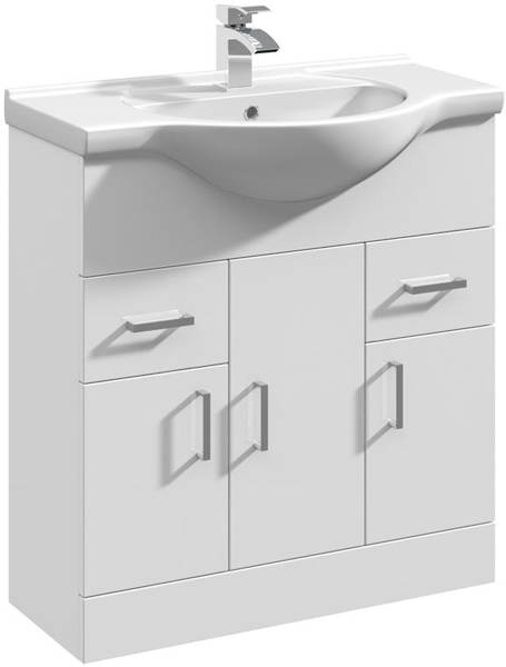 Additional image for Vanity Unit & Ceramic Basin Type 1 (755mm, White).