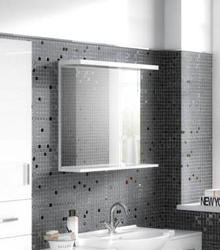 Additional image for Vanity Mirror With Shelf & Light (450x750mm, White).