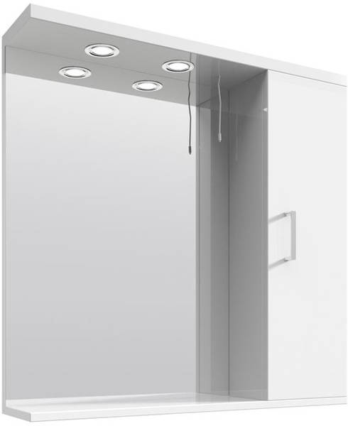Additional image for Vanity Mirror With Cabinet & Lights (750x750mm, White).