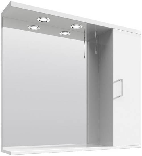 Additional image for Vanity Mirror With Cabinet & Lights (850x750mm, White).